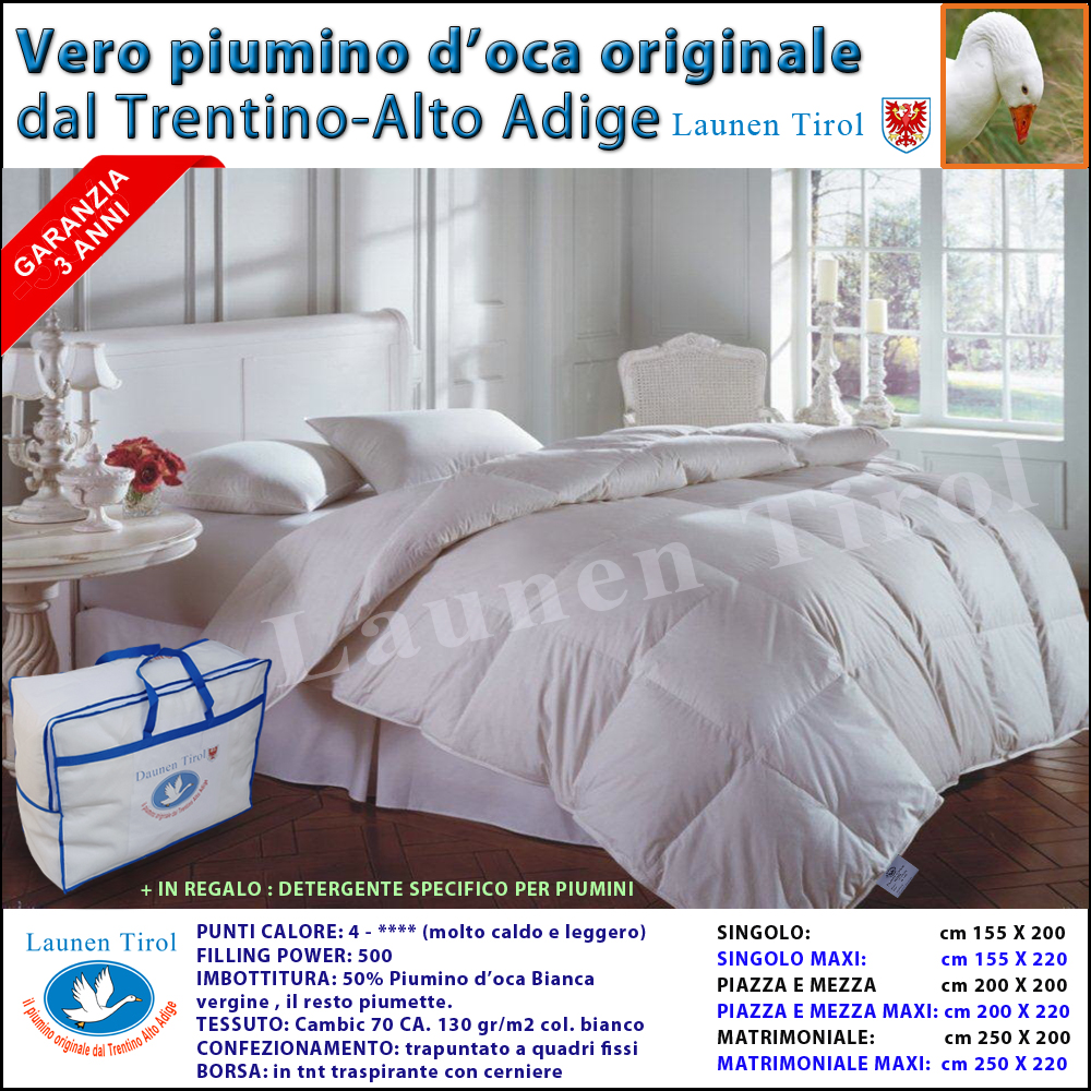 Come Lavare Un Piumone D Oca In Lavatrice.Piumini Per Letto Piumino Piumone In Piuma D Oca Launen Tirol
