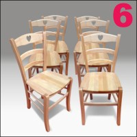 Sedie country 6 sedie in legno naturale stile shabby for Sedie shabby chic usate