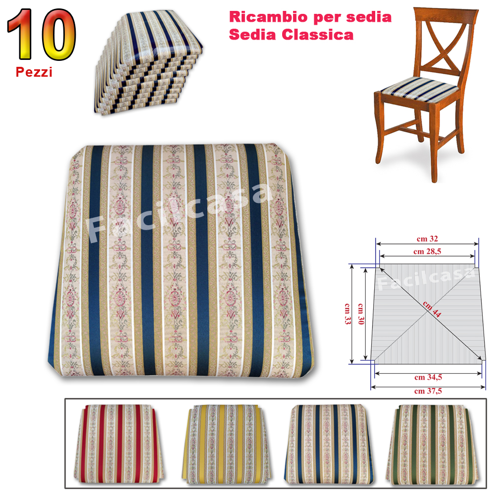 RICAMBI SEDUTE PER SEDIE (imbottite) : BLU 10 SEDUTA IN ...